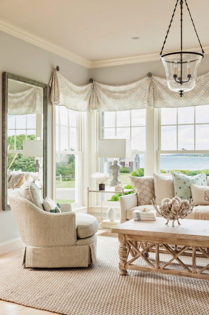 White Roman Shades Living Room